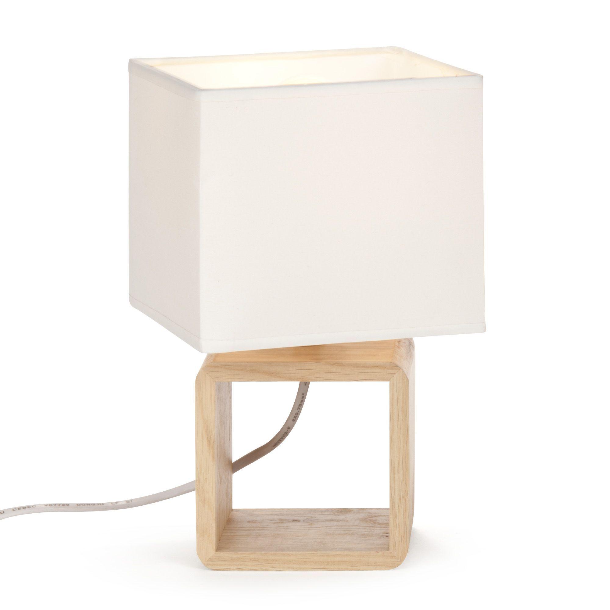 Lampe En Bois Avec Abat Jour Blanc Cubo Les Lampes A Poser