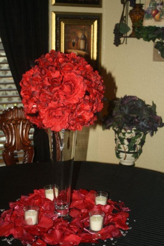 Red White and Black Wedding Centerpieces | Centerpiece Option ...