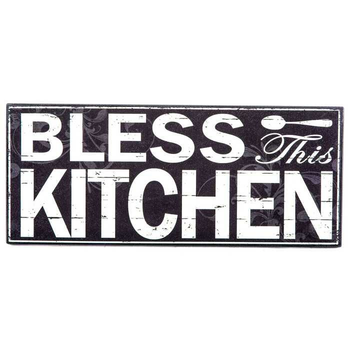 Black White Bless This Kitchen Wood Wall Decor With Images Kitchen Wall Plaques Wood Wall Decor Wall Plaques
