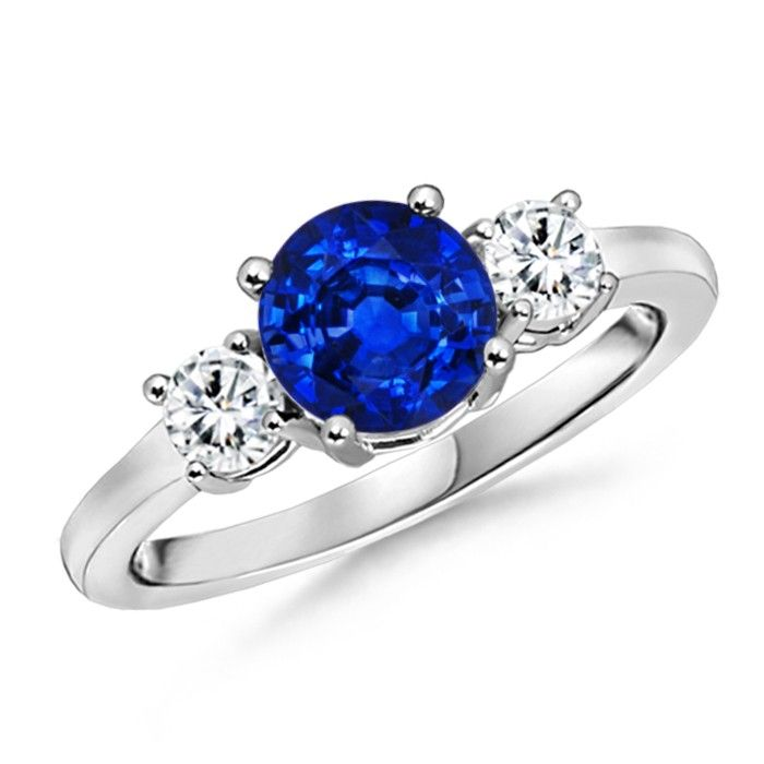 Angara Round Diamond Three Stone Ring with Sapphire Side Stone in White Gold nNL0D407