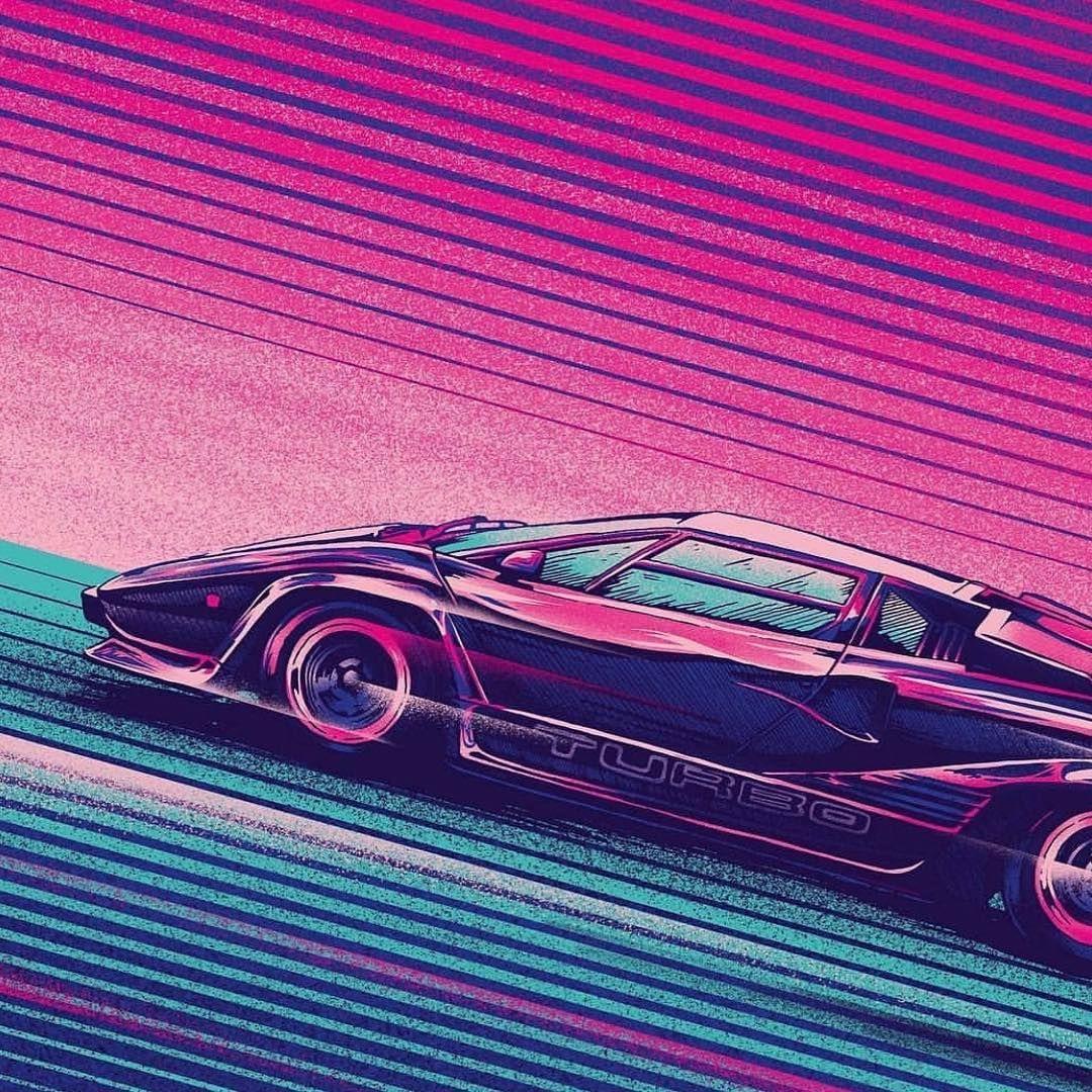 Ferrari Driving So Faster Than Light Image Pink And Ice Blue Background Lamborghini Italian Luxury Neon Photography Light Images Vaporwave