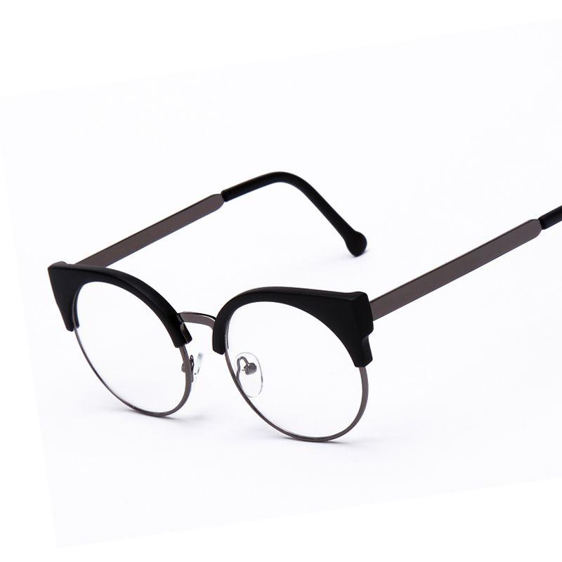 Moda de Mujer de Marca Diseñador Del Ojo de Gato Gafas Medio Marco ...