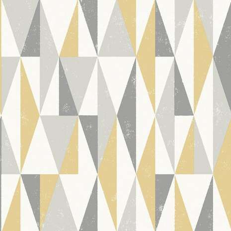 Made with geometric triangular forms in shades of grey with yellow highlights, this patterned wallpaper is designed with a matt finish....
