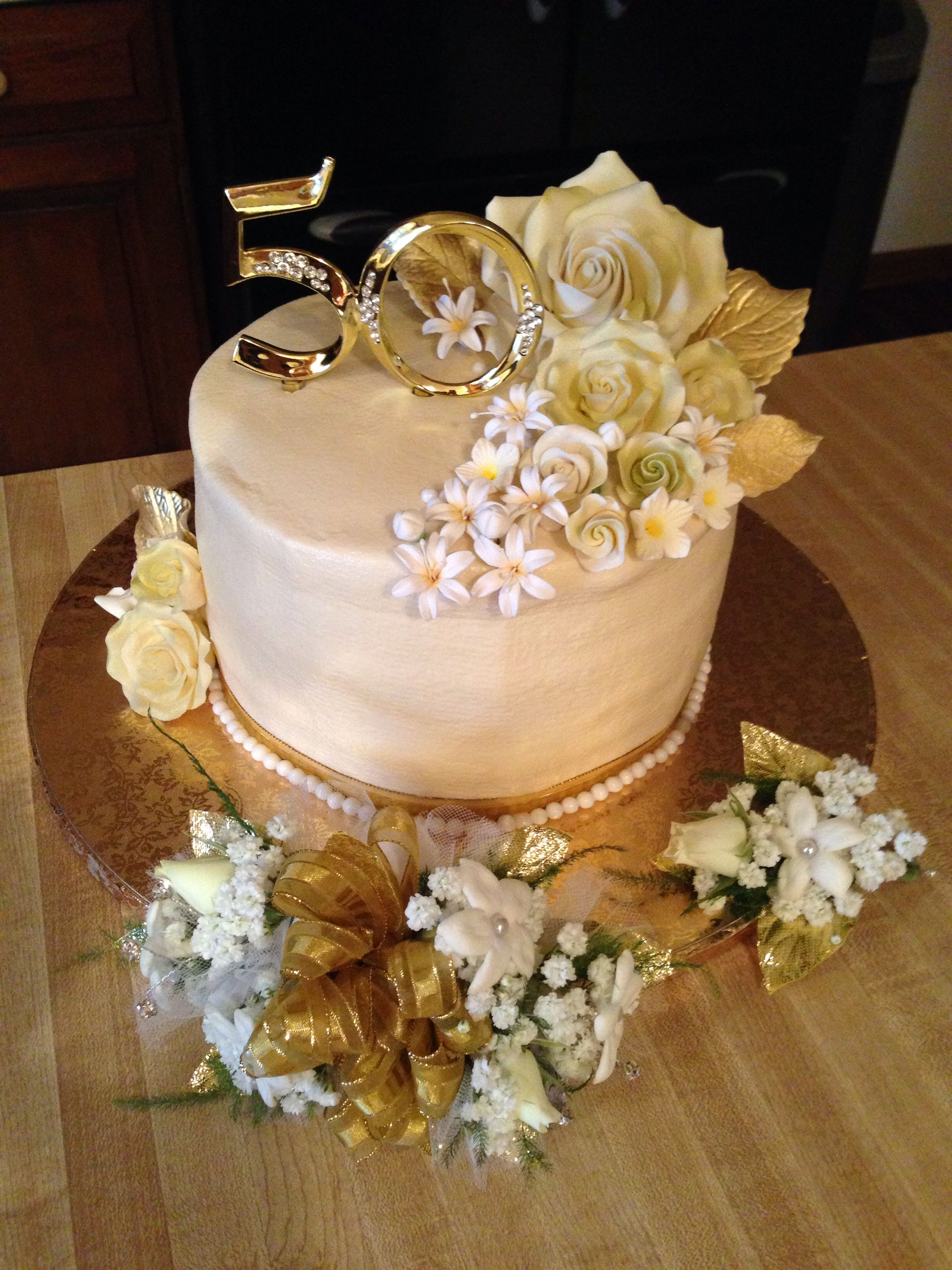 50th anniversary cake and flowers food recipes pinterest 50th anniversary 50th. Black Bedroom Furniture Sets. Home Design Ideas