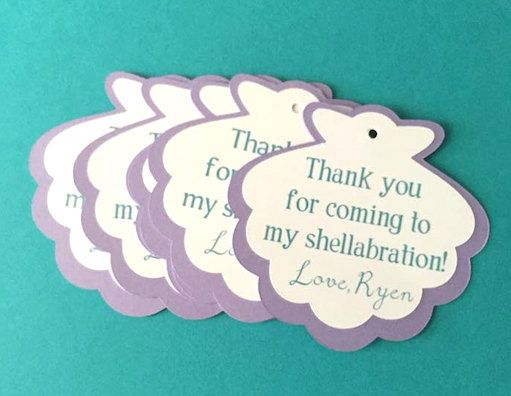 Beach Pail Party Favors Saying Thank You For Coming: This Listing Is For A 16 Sea Shell Thank You Tags For An