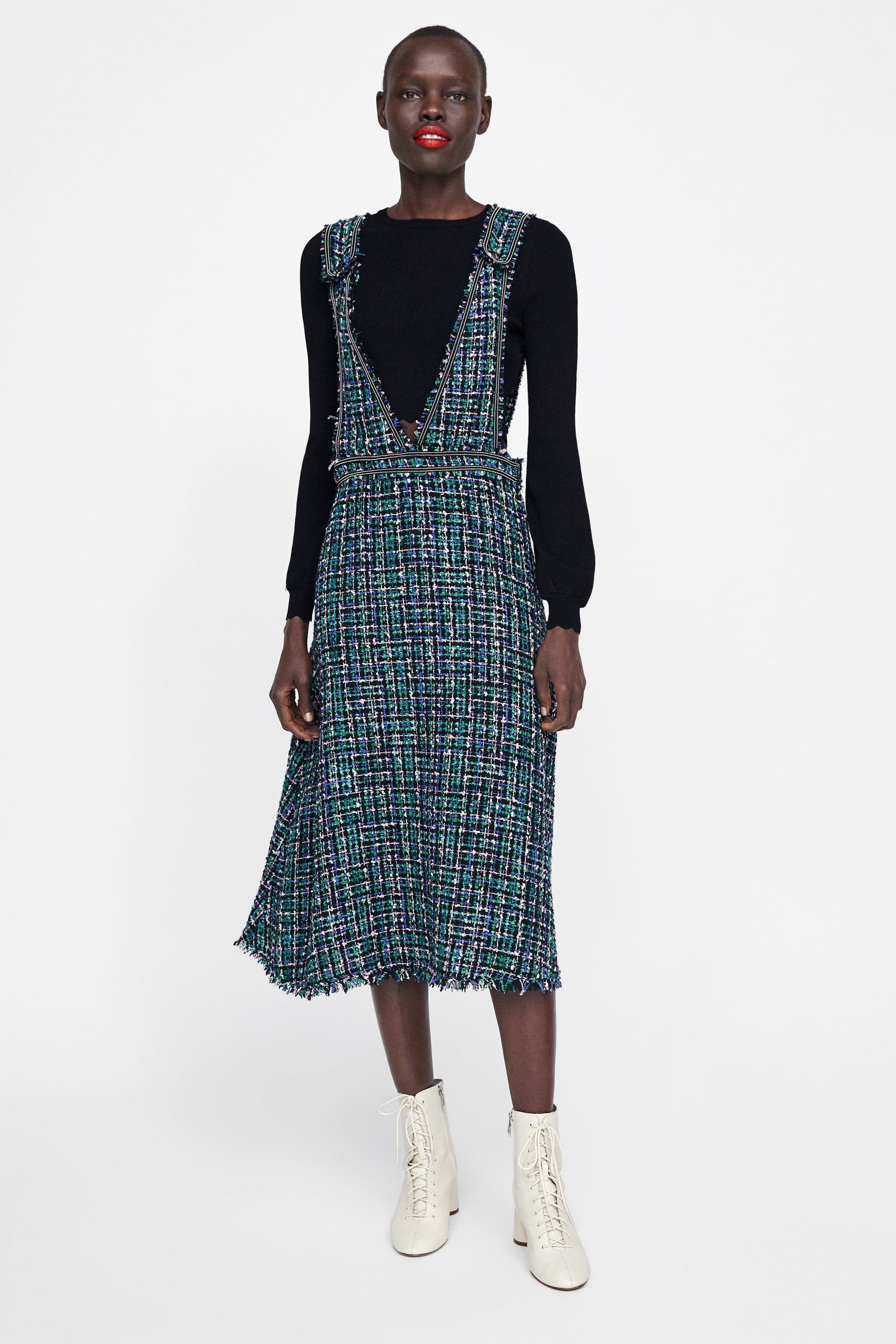 869a1011a31a Tweed overall dress in 2019 | My Style | Overall dress, Pinafore ...