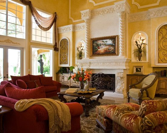 Lovely Formal Living Room With Recessed Wall Niches Wrought Iron And Flowers Fabulous Stone