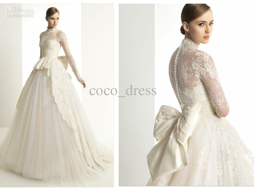 2013 Zuhair Murad Lace Long Sleeves Bridal Gowns A Line