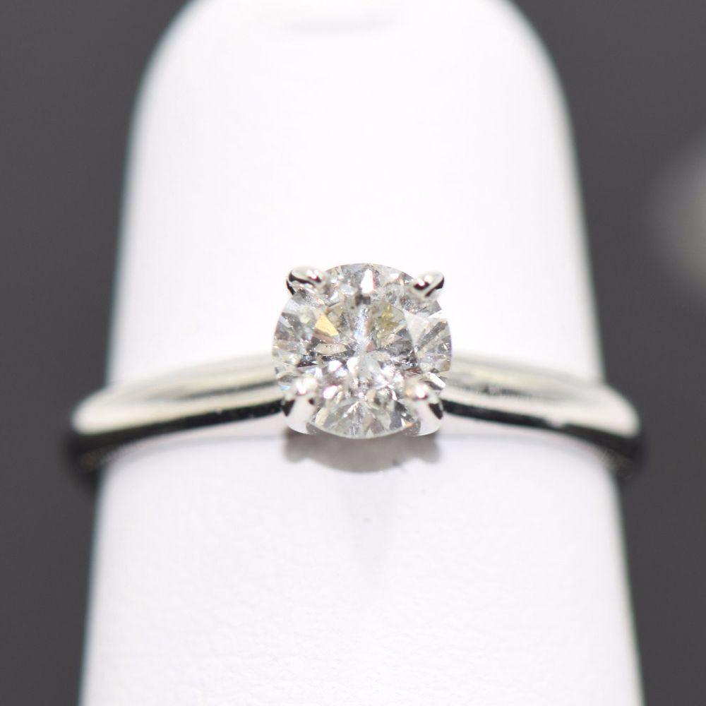 Diamond Engagement Ring 10kt White Gold 058ctw Size 4