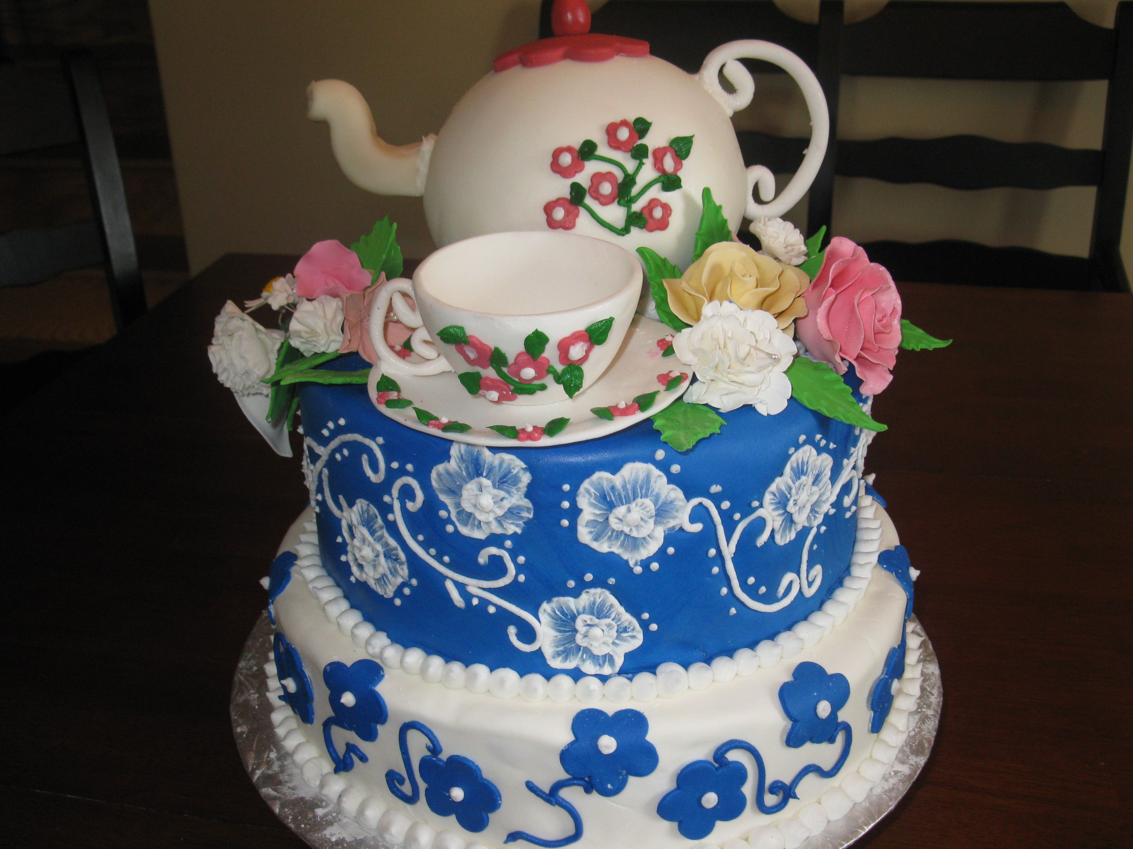 Birthday Cake With Gumpaste Teacup And Flowers