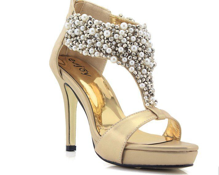 Gold Pearl Shoes | W A R D R O B E | Pinterest | Gold bridal shoes ...