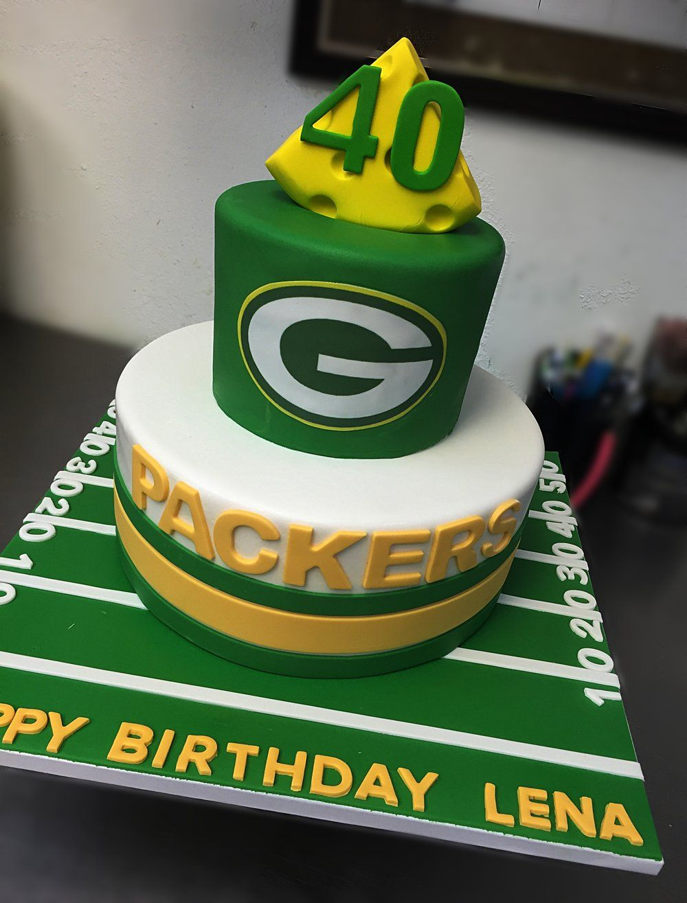 Fine Green Bay Packers Cake With Images Green Bay Packers Cake Personalised Birthday Cards Veneteletsinfo