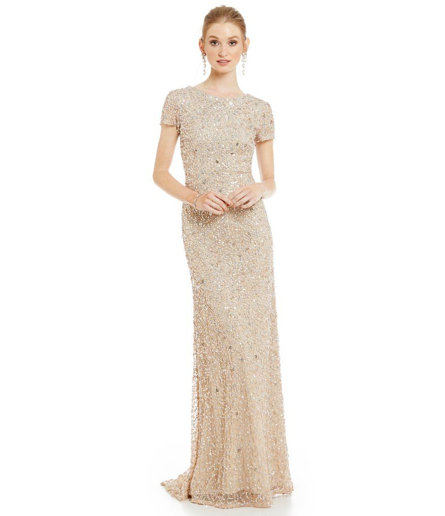 Adrianna papell shortsleeve sequined long skirt gown adrianna