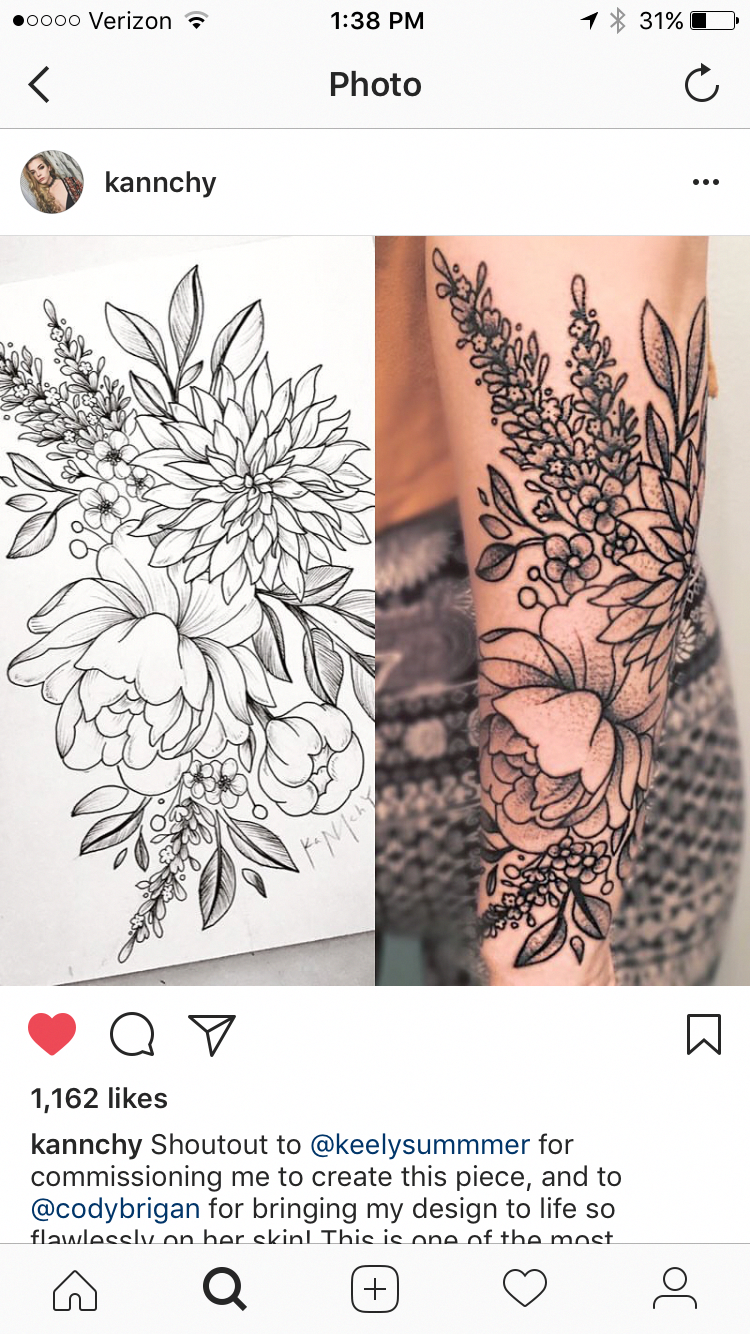 Lower Arm Henna Tattoo: Lower Arm Sleeve With The Birth Flowers😋💜😋💜 ️💜 ️