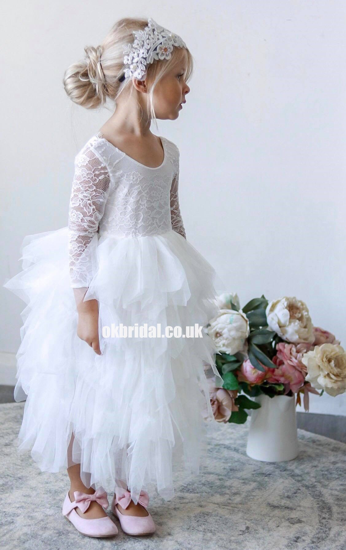 New Lace Flower Long Sleeve Party White Baby Girls Dress Kids Wedding Clothes UK