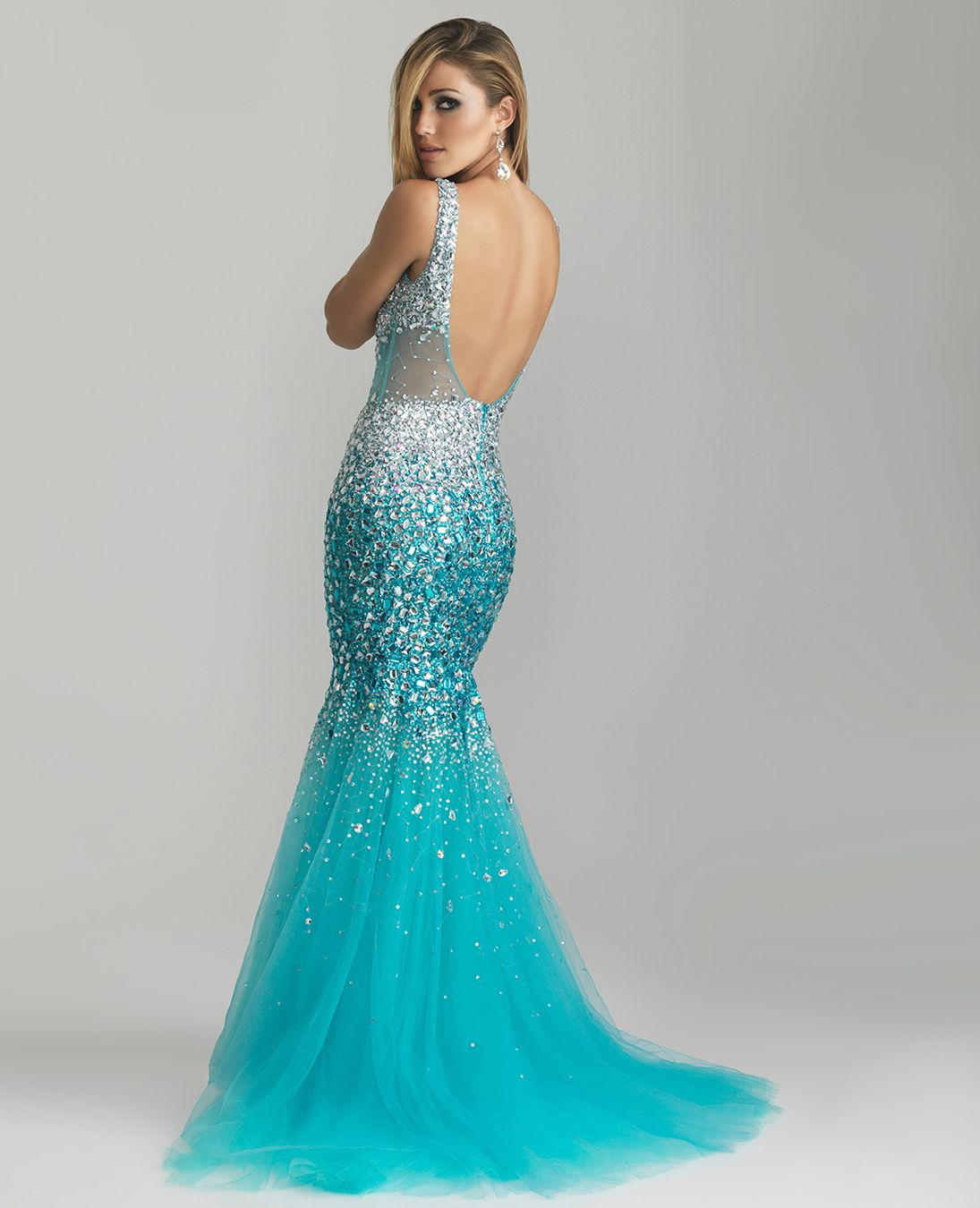 Turquoise sheer sequin u tulle low back mermaid prom gown unique