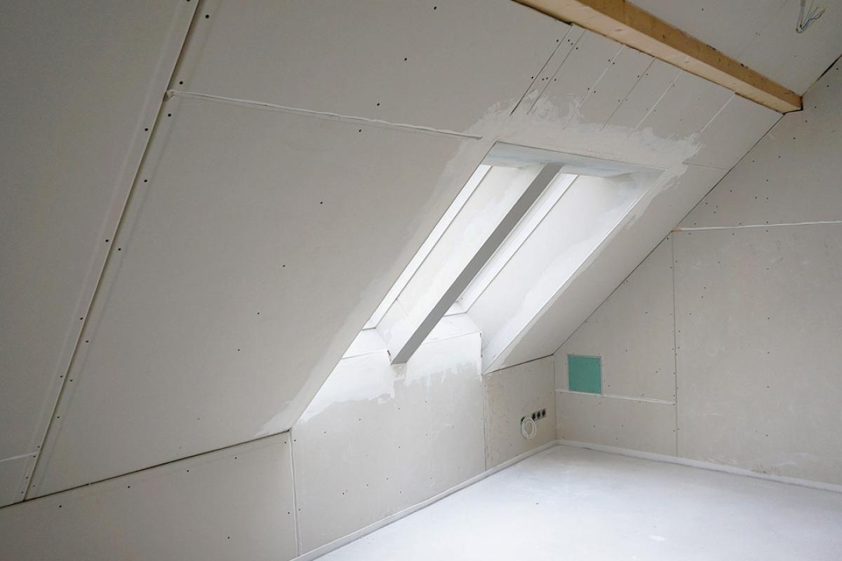 Gipskarton verspachteln  Dachboden-renovierung, Dachboden