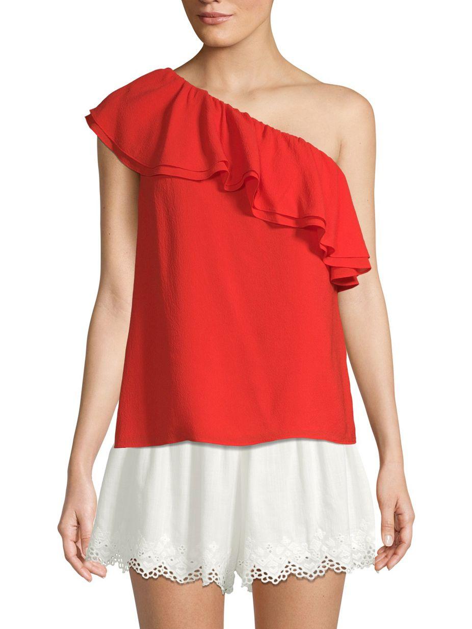 02b379c13c8ca Rebecca Taylor One-Shoulder Silk Georgette Top