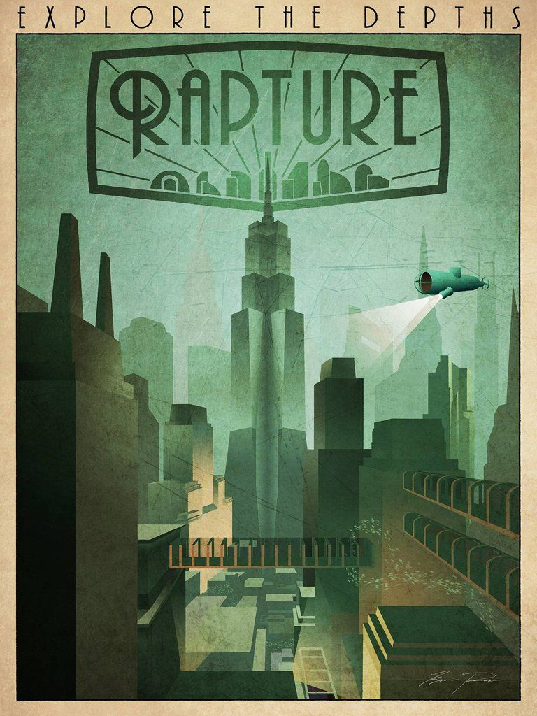 My Collection Of Mostly Gaming Retro Travel Posters Bioshock Art Bioshock Retro Travel Poster
