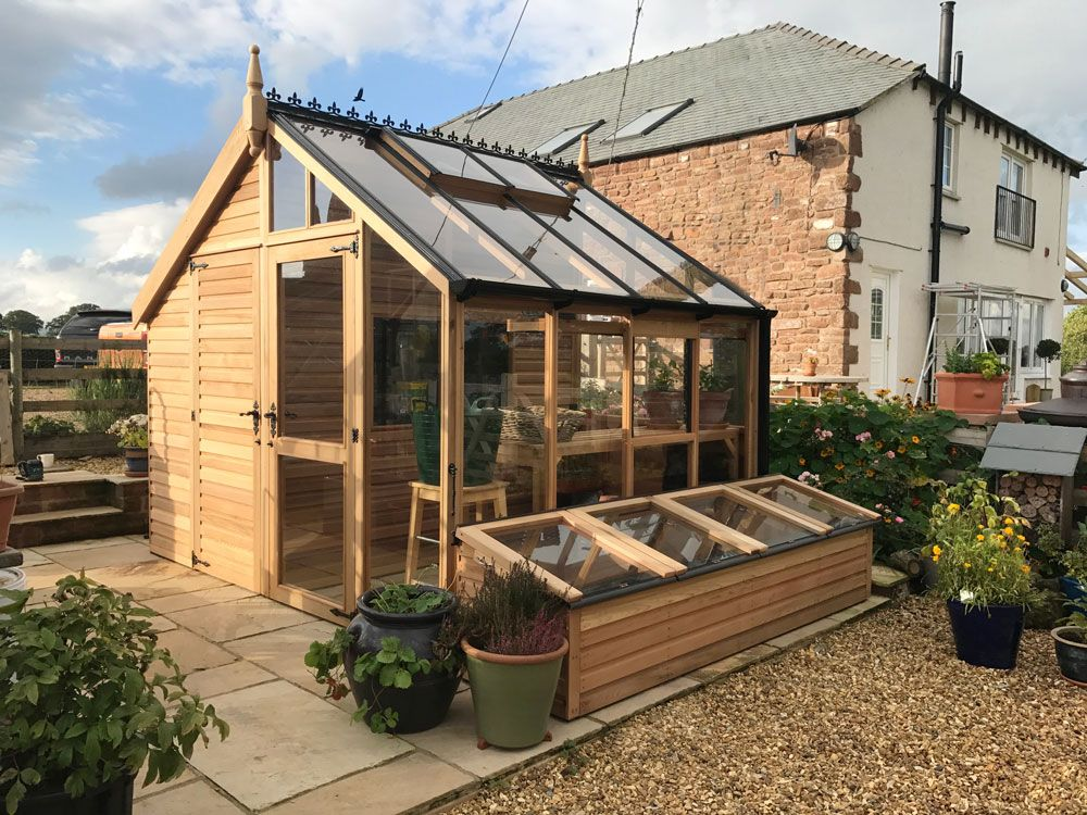 western red cedar greenhouse and shed combination