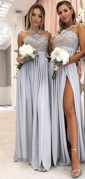 Vestidos largos de dama de honor de cuello alto con ilusión de encaje en jersey gris, AB4074  – Boda