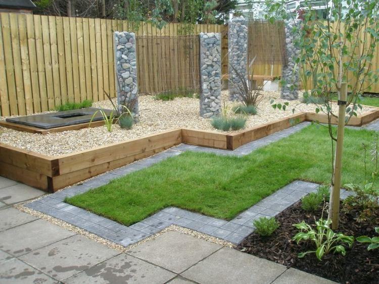 kies, rasen und betonfliesen, gabionen und holzzaun im modernen, Garten und bauen