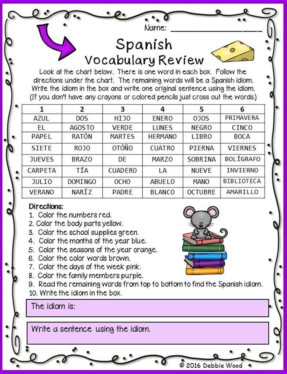 Spanish Back To School Vocabulary Activities Debbie Wood