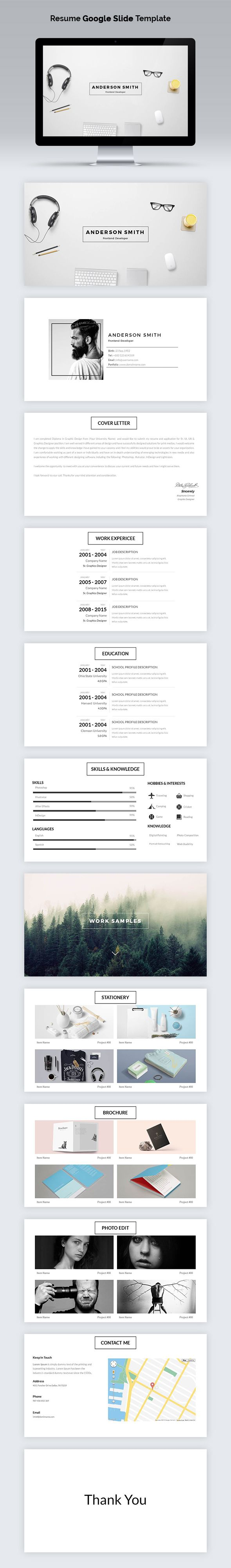 Resume Google Slide Template  Presentation Templates Ppt Design