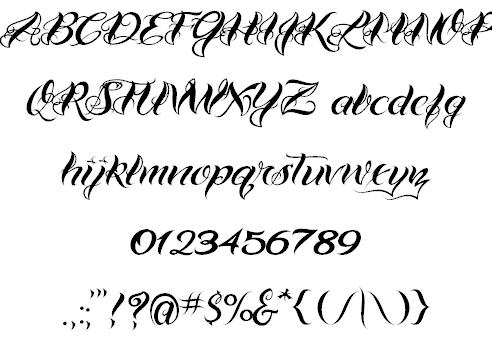 VTC Bad Tattoo Hand e font by Vigilante TypeFace Corp