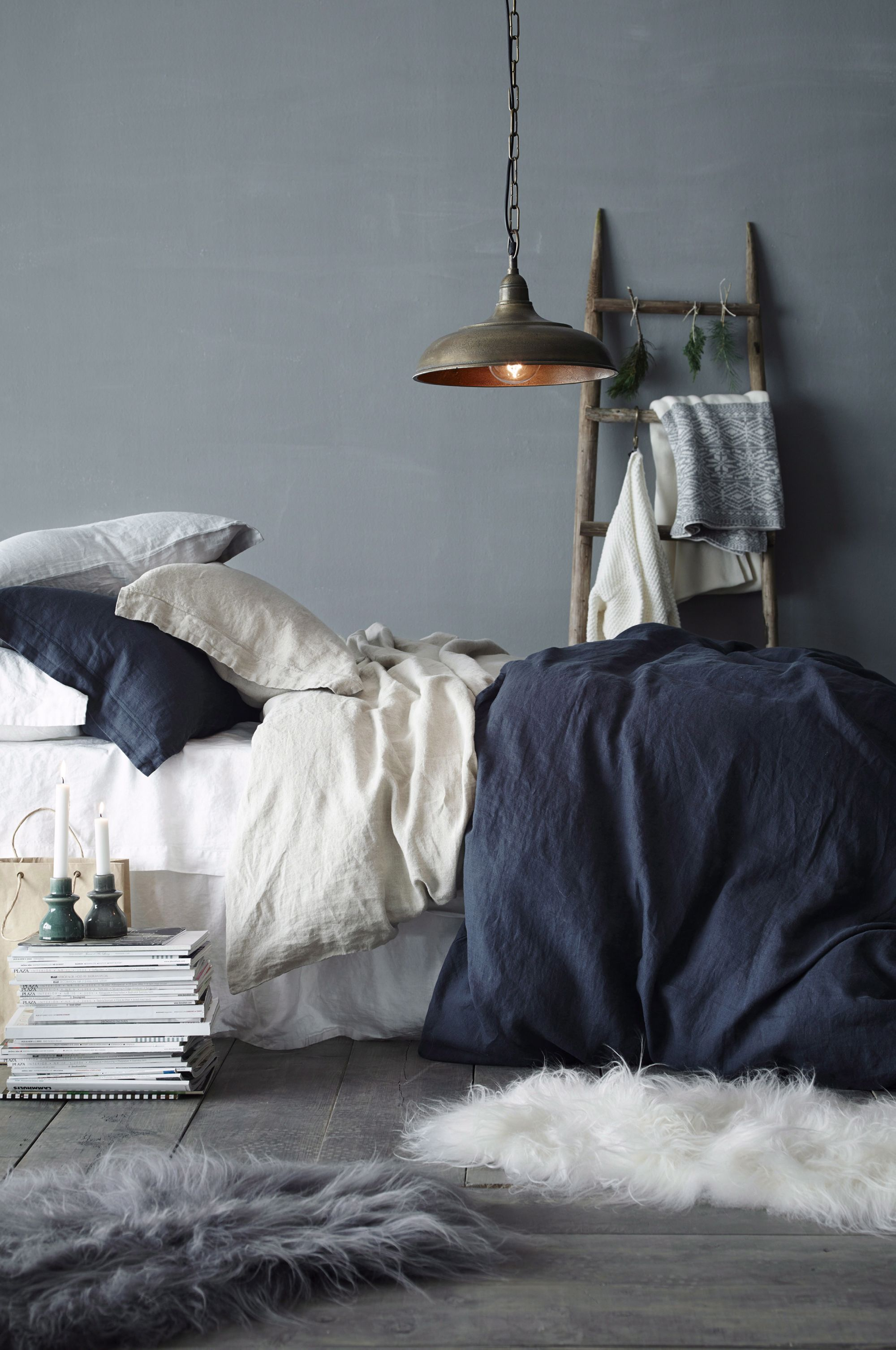 How to feng shui your home for better balance natural Light grey and navy bedroom