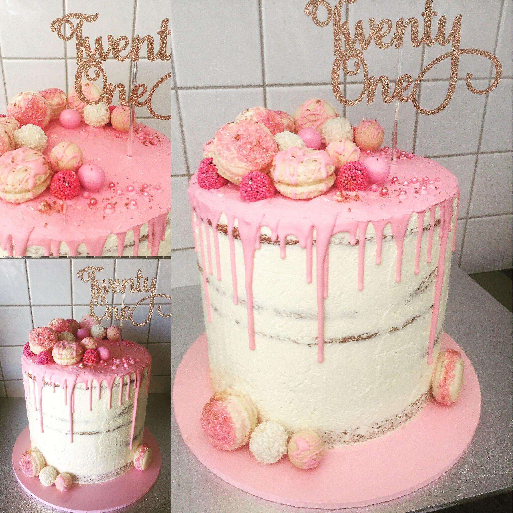 Pretty In Pink 21st Drip Cake 21st Cake 21st Birthday Cake