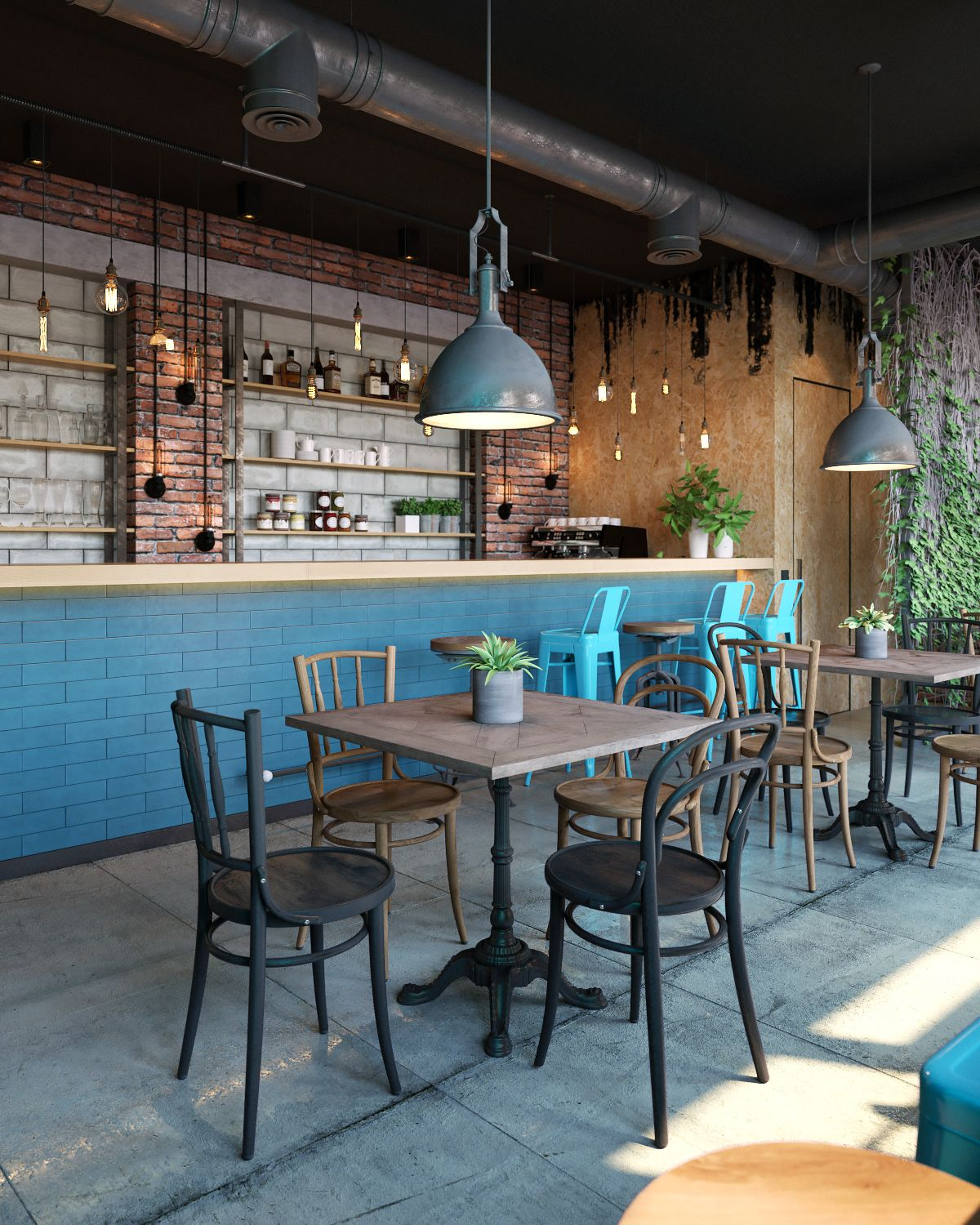 cafe in industrial style on behance | project 2017. amavo