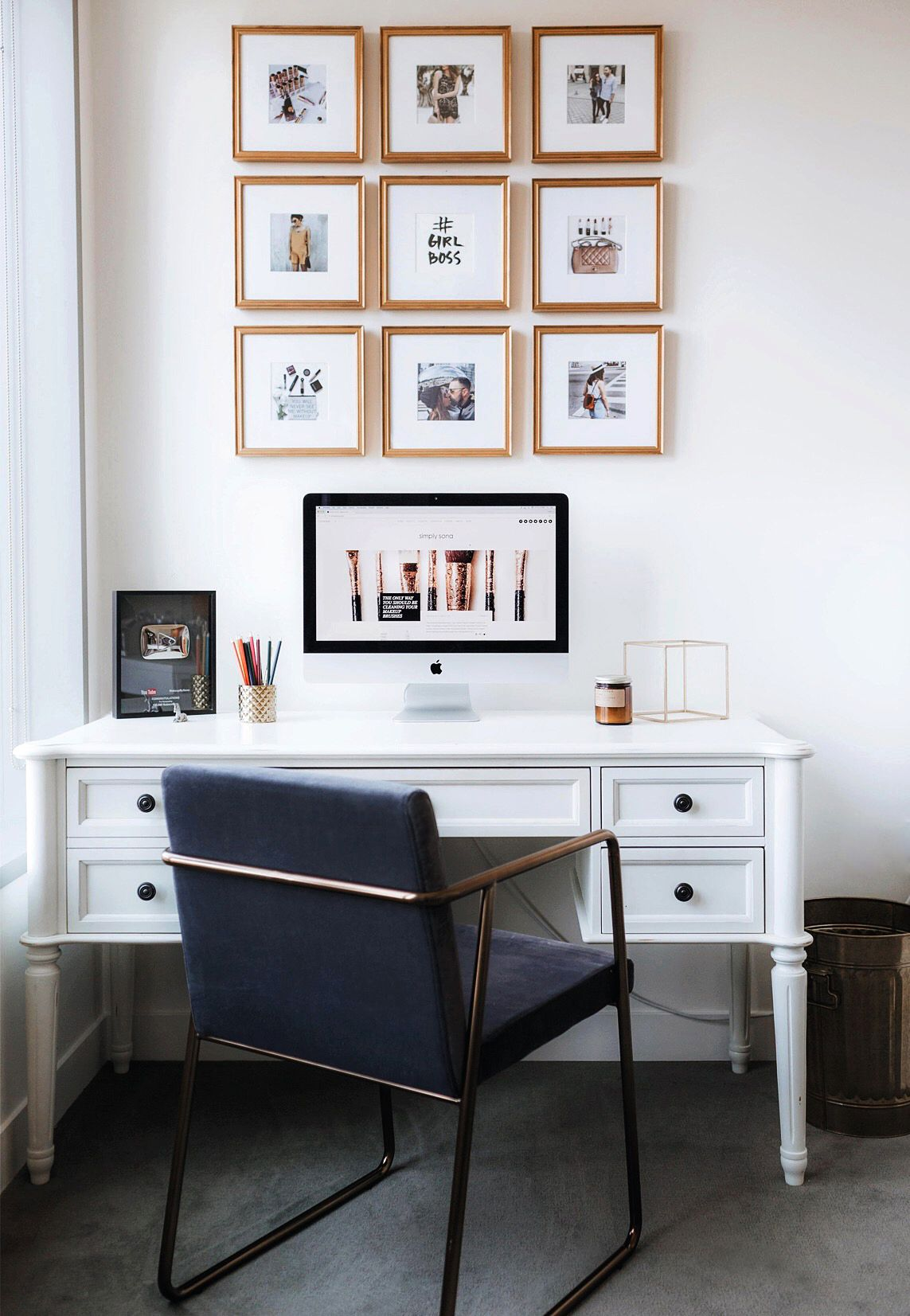 How to design and hang a grid gallery wall.   Pro tip: we recommend featuring one gallery frame style and one standard frame size.  The unity will help you hang the finished display in your space!