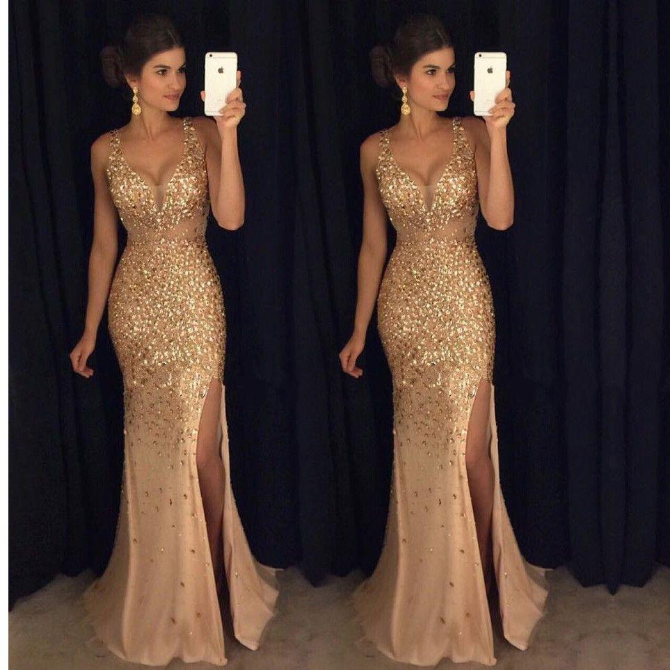 Glitter gold mermaid prom dresses long sweep train high slit