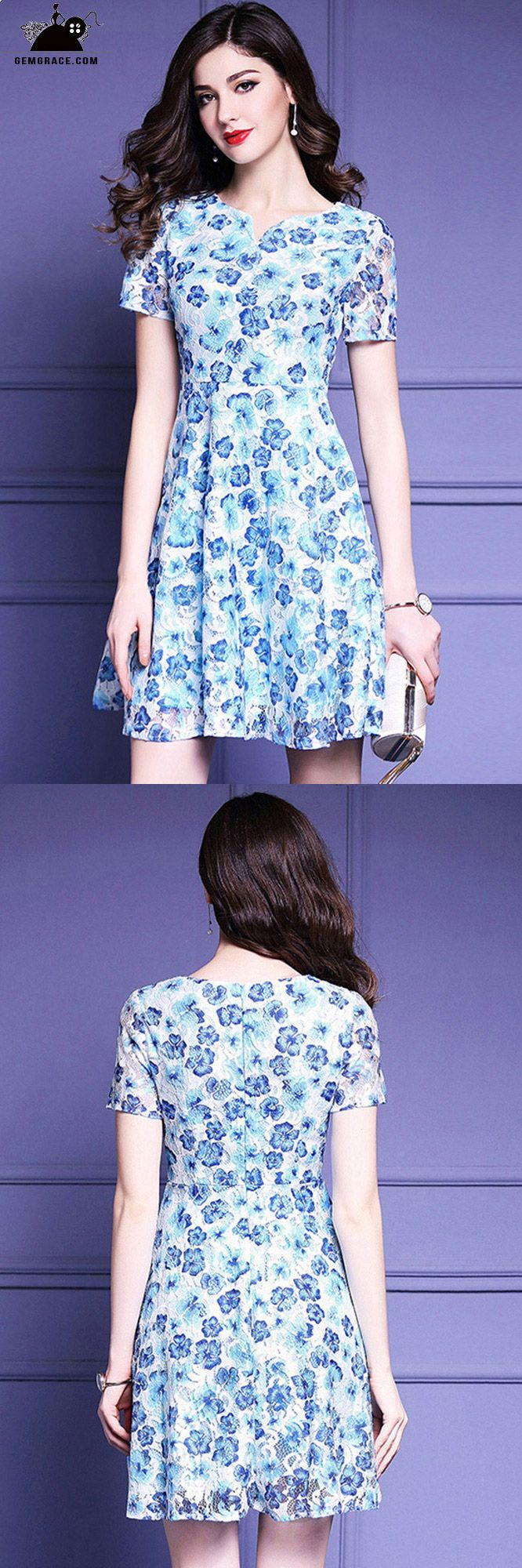 Blue modest floral casual wedding guest dress with sleeves wedding