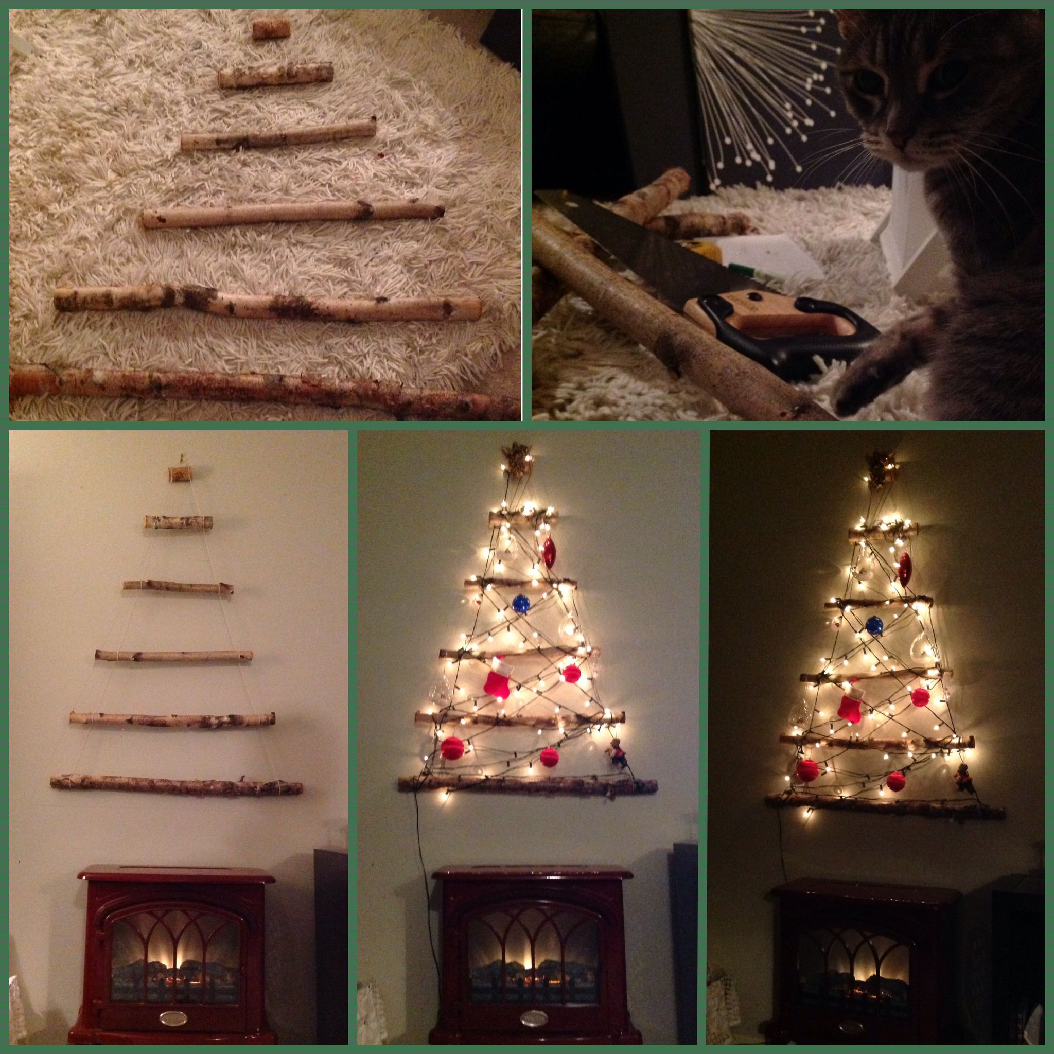 Diy rustic log christmas tree this is a beautiful for Small and friendly holidays
