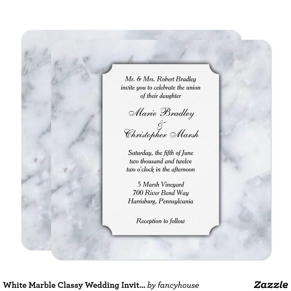 White Marble Classy Wedding Invitation | Wedding