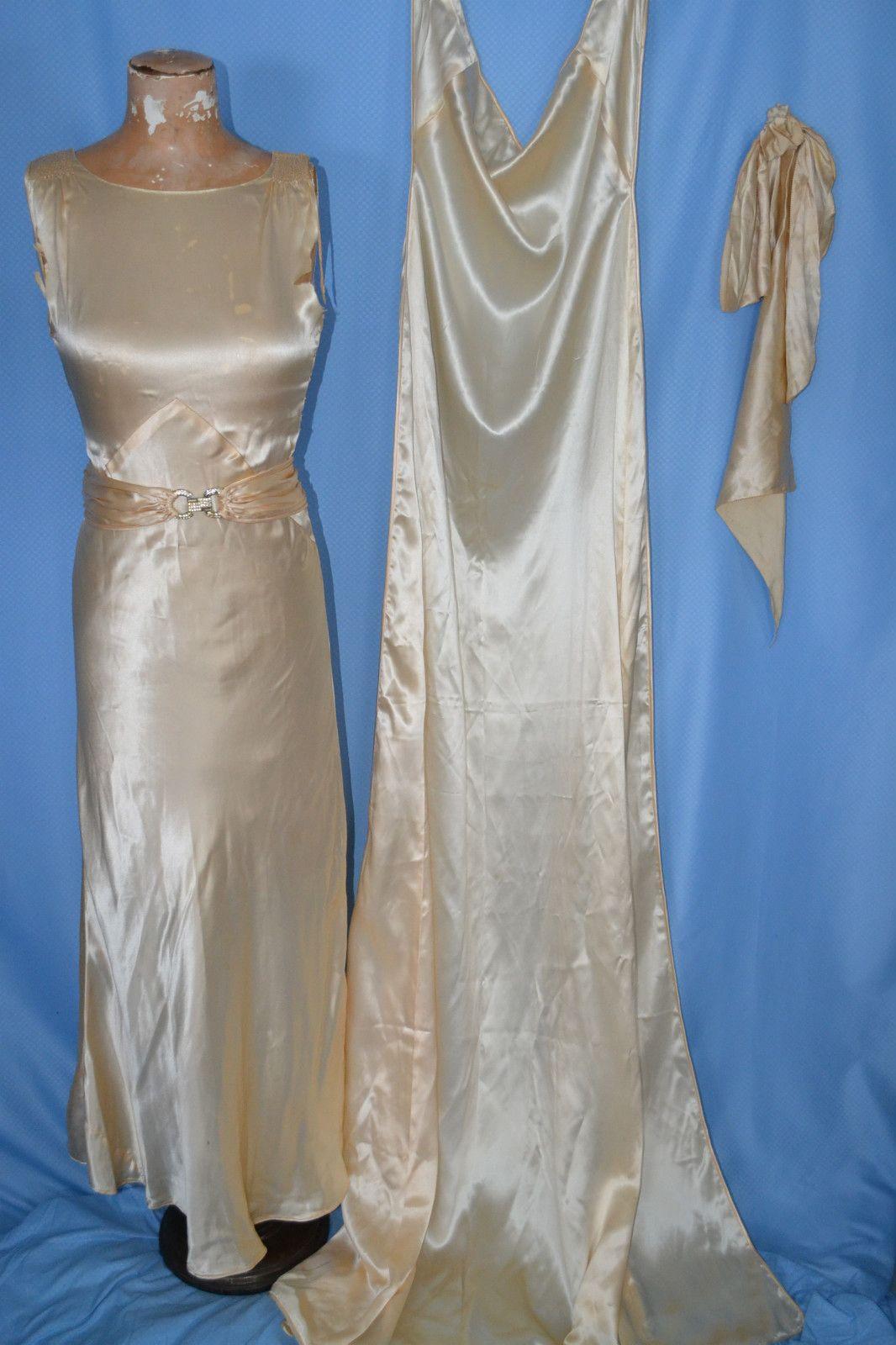 1930s silk wedding dress with detachable train. Ebay