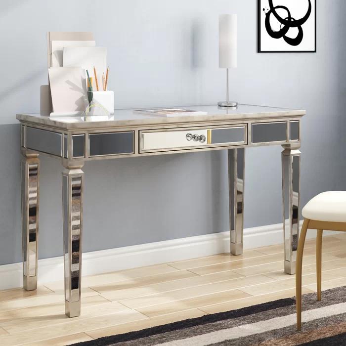 Hendon Glass Desk In 2020 Glass Desk Solid Wood Writing Desk Desk