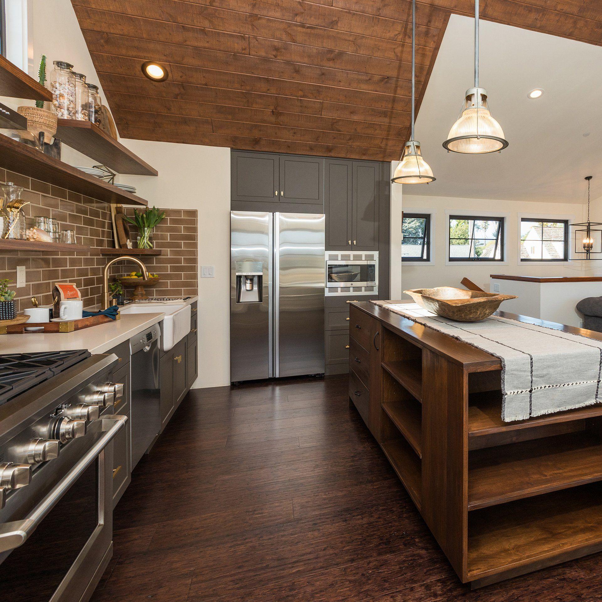 modern capitola kitchen in dark grey | modern cabin, cabin
