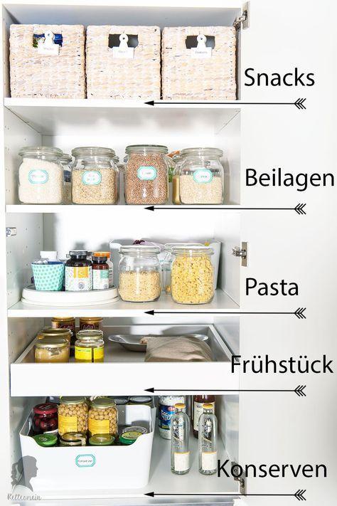 Mehr Ordnung in der Küche - Vorratsschrank organisieren - Rezepte, Ordnungsideen und DIY | relleomein.de