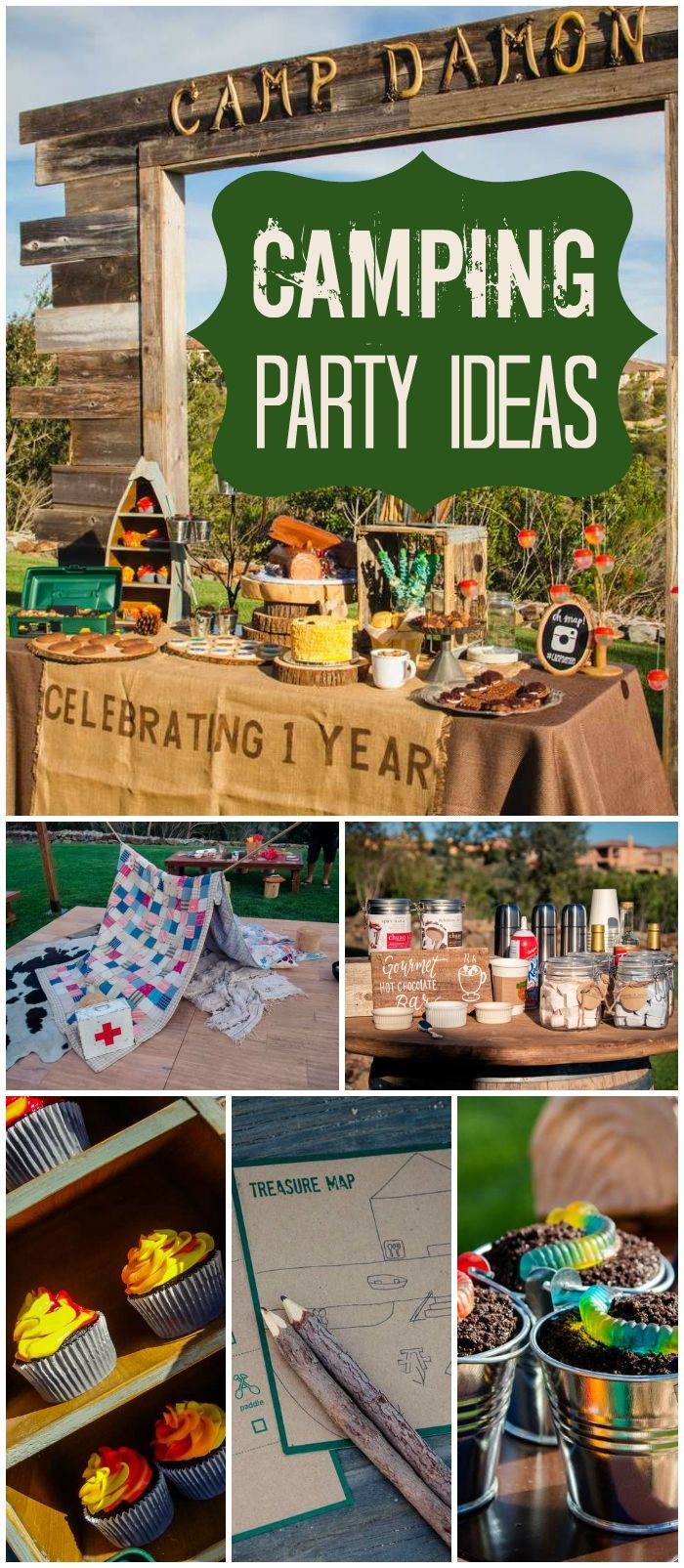 How cool is this outdoor camping party with a s'mores bar ...
