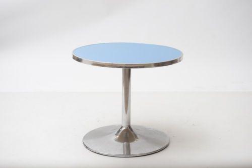 Tavolino da bar made in italy anni azzurro inox in laminato e