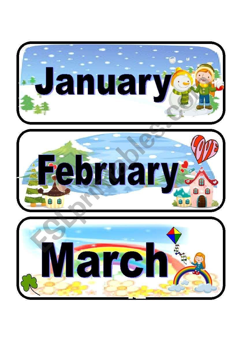 Calendar flashcards set 1 ESL worksheet by Azza_20【2020