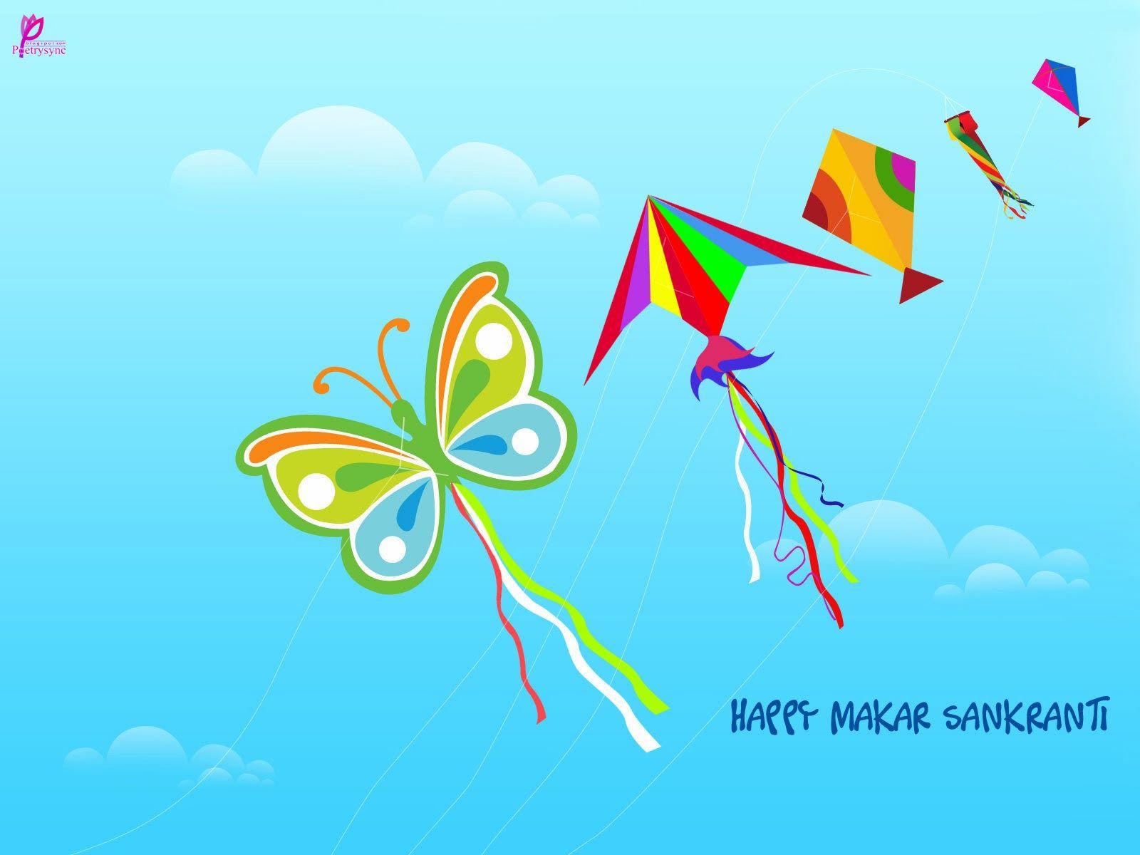 Happy Makar Sankranti Kites Wishes Card Image Wallpaper Makar
