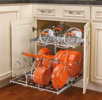 30 kitchen pots and pans storage solutions home kitchens pan storage rev a shelf on kitchen organization pots and pans id=47471