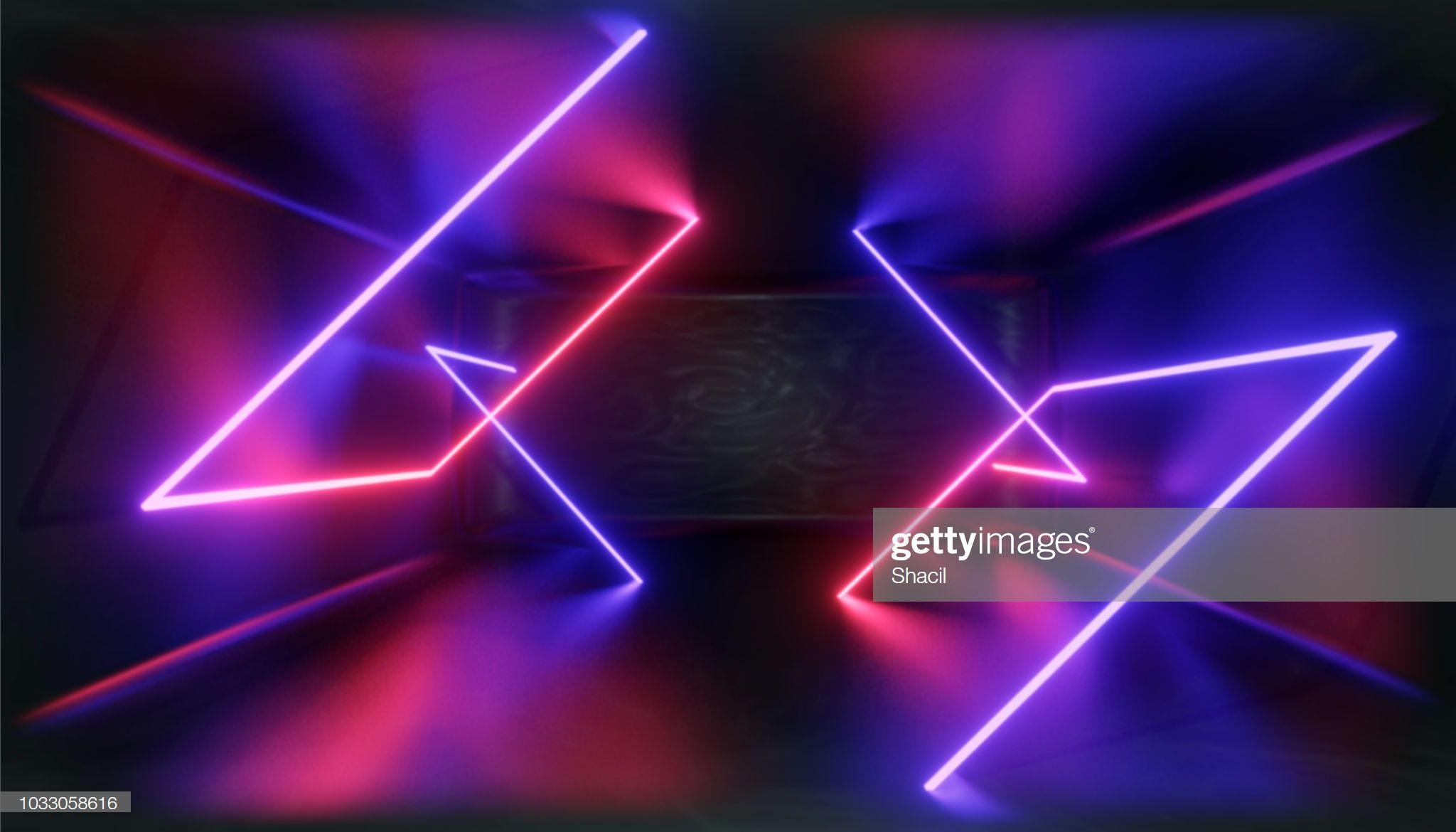 Render Glowing Lines Tunnel Neon