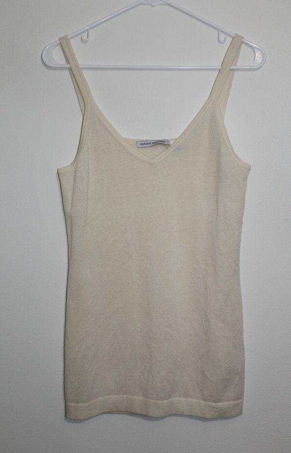 $29.95 OBO Women's Autumn Cashmere 100% Cashmere Beige Tank Top Sweater Size: Medium #freeshipping #cashmere