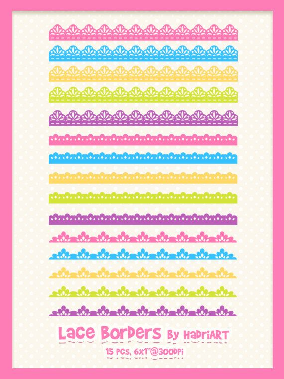 Scalloped lace. Border clipart pink blue