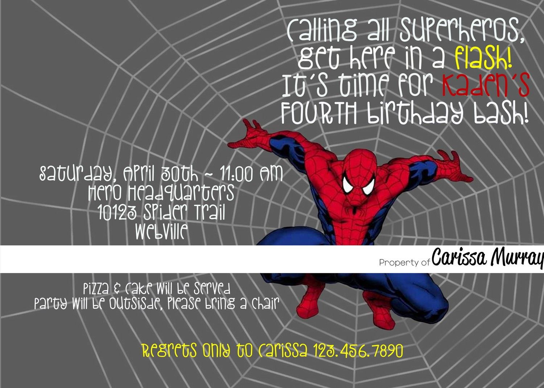Custom Printable Spiderman Birthday Party Invitation 15 00 Via